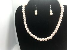 "Pearl Necklace Set Pink Bead 16"" US Fashion Jewelry Gift Pierced"