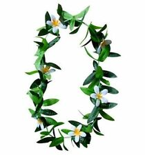 Hawaii Flower Lei Hula Luau Party Wedding Plumeria White Maile Leaf QTY 2 LEIS