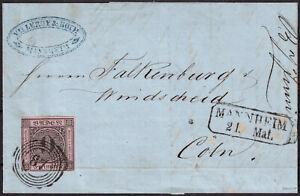 BADEN 1854 9 Kreuzer Nr. 4 a auf sauberem Brief nach Köln gepr.SEEGER BPP Mi.600