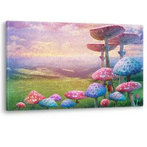Alice in Wonderland Landscape Mushroom Nature Canvas Wall Art Picture Print
