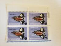 VF Plate Block RW45 Federal Duck Stamp Hunting $5 Hooded Merganser 1978