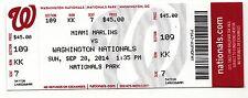 2014 WASHINGTON NATIONALS V MARLINS TICKET STUB 9/28 JORDAN ZIMMERMANN NO HITTER