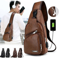 Fashion Men Shoulder Chest Bag PU Leather Zipper USB Charging For Mobile Phone