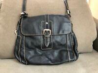 Fossil Women's Gabby Handbag Purse Black Leather Ivory Stitch Crossbody ZB2180