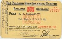 MINT! 1930 Chicago Rock Island & Pacific Railroad Pass Train Ticket S C Bushnell