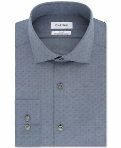Calvin Klein Mens Dress Shirt Blue Size 17 1/2 XL Slim Fit Stretch $79 #015
