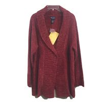 Denim & Co. QVC Red Chenille Soft Single Button Ribbed Cardigan Sweater XL