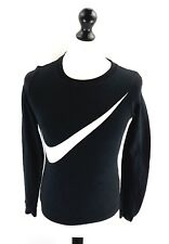 NIKE Mens Jumper Sweater XS Black Cotton & Polyester
