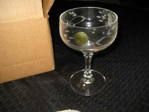 NIB Set of 4 Princess House Heritage Bordeaux Champagne Sherbet Glasses Crystal