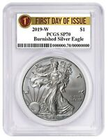 2019 W Burnished Silver Eagle PCGS SP70 - First Day Issue Label