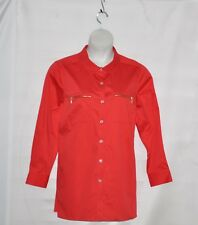 Belle by Kim Gravel Girlfriend Shirt with Zipper Pockets Size 1X Red