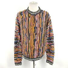 Vintage Coogi Pullover Herren XL Mehrfarbig Bunt Leinen Baumwolle Sweater 90s