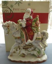 Fitz & Floyd Damask Holiday Large Centerpiece Santa on Horse Figurine New in Box