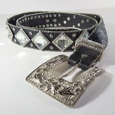 Atlas Western Rhinestone Belt Cowgirl Rodeo Princess Black Leather Silver Bling