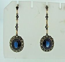 SAPPHIRES DIAMONDS RUSSIAN EARRINGS YELLOW GOLD AND PLATINUM