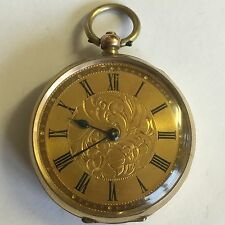 Antico 9ct Solid Gold Donna Orologio da taschino NON FUNZIONANTE PER RICAMBI/riparazioni