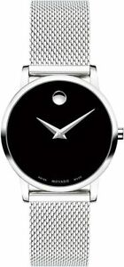 "NEW MOVADO ""Museum Classic"" Woman's 28mm SSteel Mesh 0607220 AUTHORIZED DEALER"