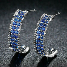 Fashion Stud Earring for Women 925 Silver Blue Sapphire Free Shipping A Pair/set