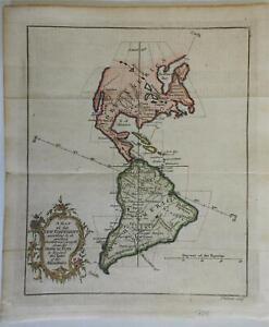 North & South America Hudson Bay Caribbean Islands La Plata 1758 Gibson map
