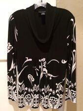INC International Concepts Petite Long Sleeve Top Black White Size L