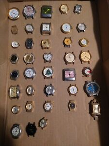 Lot of 38 Watches NO BANDS for Parts/Repair Elgin Citizen Timex Adidas & More