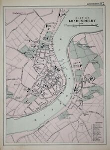 IRELAND - DERRY - PLAN OF LONDONDERRY BY G W BACON 1898