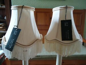 Clip On Lampshades x 2 Ivory Satin Effect Fabric Trimmed with Fringe and Braid