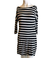 Express Ladies Small Black And White Striped Dress Lightweight Cotton NWT