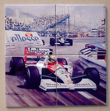Ayrton Senna Monaco 1991 TRIBUTE set of 4 CERAMIC TILES Ltd Edition rare