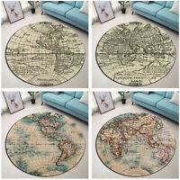 Round Floor Mat Bedroom Living Room Area Rugs Carpet Ancient World Map Pattern