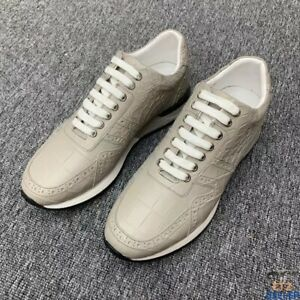 Fashion Alligator Sneakers Lace-up Shoes for Men Light Beige Size 6-11US #5103