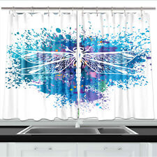Dragonfly Colorful Background Kitchen Curtains 2 Panel Set Decor Window Drapes