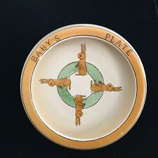 """Roseville Antique Baby Plate,,Rabbit motif,Baby's Plate on rim.perfect,8"""""""
