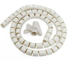 CABLE TIDY 2M WHITE TV PC KIT WIRE ORGANISING TOOL SPIRAL OFFICE HOME
