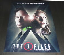 "THE X-FILES PP X2 SIGNED 12X8"" A4 PHOTO POSTER MULDER FOX GILLIAN ANDERSON S10"