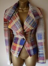 VIVIENNE WESTWOOD 42 STUNNING VIRGIN WOOL FADED TARTAN CHECK WHISPER BLAZER £726