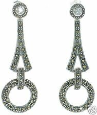 Solid 925 Sterling Silver Marcasite and Clear CZ Circle Drop Earrings '