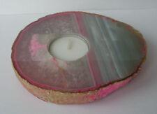 Pink Agate Crystal Geode Tea Light Candle Holder