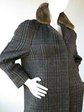 Cardinal of Canada Fur Collar Wool Houndstooth Plaid Coat Full Length Medium q