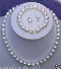 Necklace Bracelet Earring Set Aaa+ New 7-8mm White Freshwater Cultured Pearl