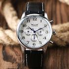 JARAGAR Day Date Leather Strap Automatic Mechanical Men Women Dress Wrist Watch