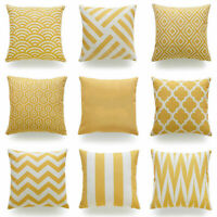 "Yellow Mustard Ochre & Grey Chenille Geometric 18"" Cushion Covers &1 piece"