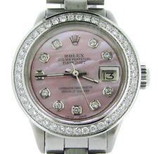 Rolex Datejust Ladies Stainless Steel Watch w/ Pink MOP Diamond Dial & Bezel
