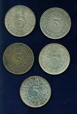 GERMANY 5 MARK SILVER COINS: 1951-J, 1951-F, 1958-D, 1965-F, & 1969-D