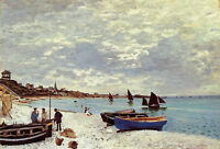 Art Oil painting Claude Monet - The Beach at Sainte-Adresse & canoes boats