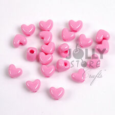 Pink Heart shaped Pony Beads 100pc made USA crafts hair jewelry bling