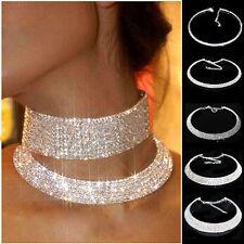 Women Crystal Diamante Rhinestone Necklace Silver Wedding Party Choker Chain