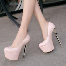Women Spring Sexy High Heels Platform Round Toe Nightclub Pumps Shoes Size 33-48