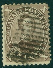 EDW1949SELL : CANADA 1859 Sc #17 Used. Dark Red Lilac shade. PSAG Cert. Cat $160