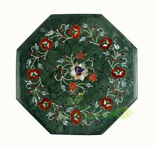 """12"""" Green Marble Coffee Table Top Carnelian Floral Inlay Art Mosaic Home Decor"""